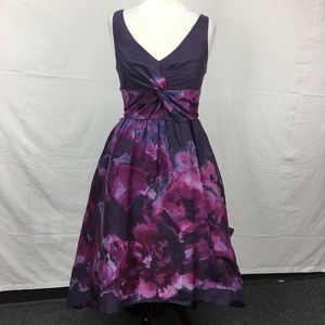 Lela Rose Purple Watercolor Dress